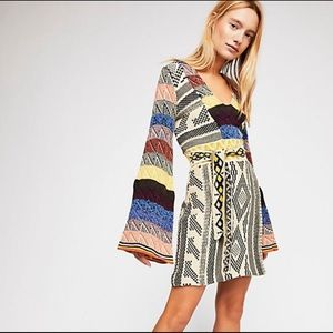 Free People Patchwork Sweater Dress small